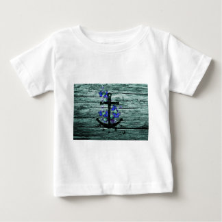 Vintage Wood & Black Anchor With Blue Butterflies Baby T-Shirt