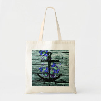 Vintage Wood & Black Anchor With Blue Butterflies Canvas Bags