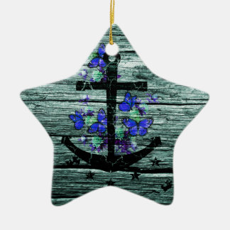 Vintage Wood & Black Anchor With Blue Butterflies Ceramic Ornament