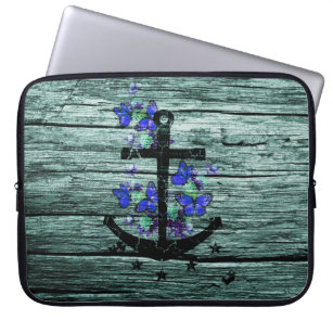 Vintage Wood & Black Anchor With Blue Butterflies Computer Sleeve