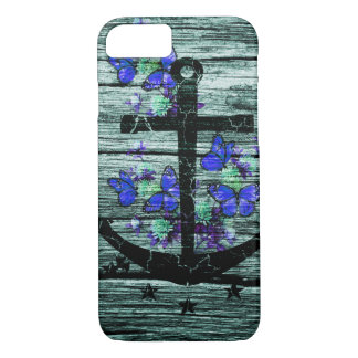 Vintage Wood & Black Anchor With Blue Butterflies iPhone 8/7 Case