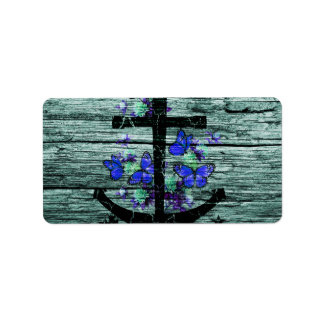 Vintage Wood & Black Anchor With Blue Butterflies Label
