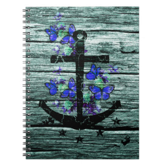 Vintage Wood & Black Anchor With Blue Butterflies Spiral Notebook