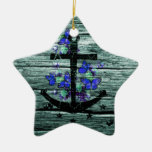 Vintage Wood & Black Anchor With Blue Butterflies Double-Sided Star Ceramic Christmas Ornament