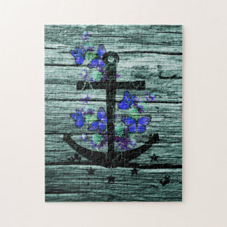 Vintage Wood & Black Anchor With Blue Butterflies Jigsaw Puzzles