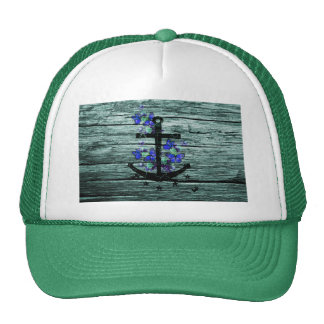 Vintage Wood & Black Anchor With Blue Butterflies Trucker Hat