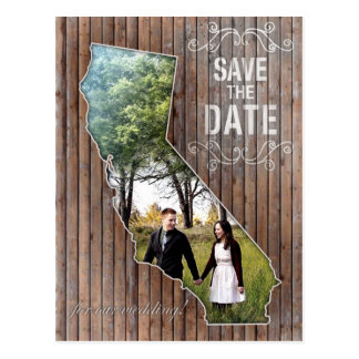 Vintage Wood California Save The Date Postcard