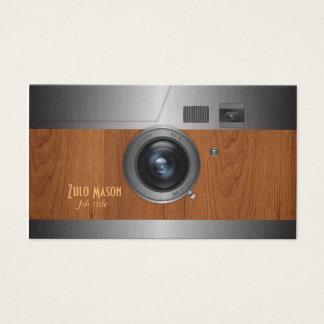 Vintage wood camera business card