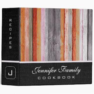 Vintage Wood Family Recipes Burlap Look #2 Binder