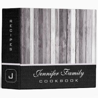 Vintage Wood Family Recipes Burlap Look 3 Ring Binder