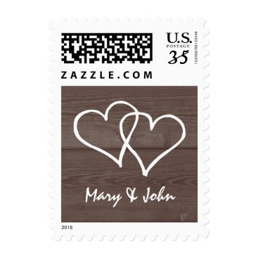 Valentines Themed Vintage wood grain country chic wedding stamps