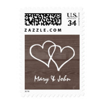 Vintage wood grain country chic wedding stamps