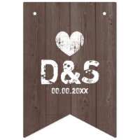Vintage wood grain country wedding bunting flags