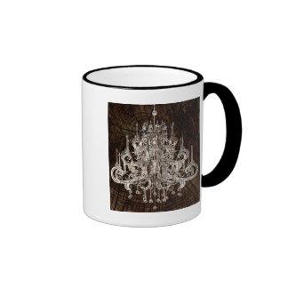 Vintage Wood Grain Crystal Chandelier Ringer Coffee Mug
