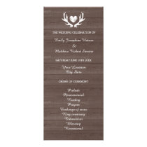 Vintage wood grain deer antler wedding program