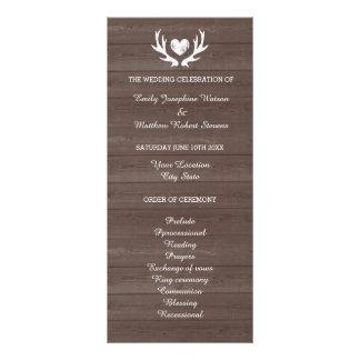 Vintage wood grain deer antler wedding program