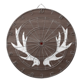 Vintage wood grain deer antlers hunting dartboard