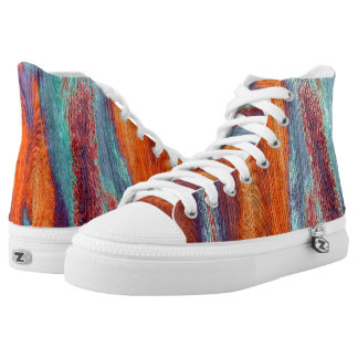 Vintage Wood Grain Modern Abstract Art High-Top Sneakers