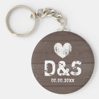 Vintage wood grain wedding party favor keychain