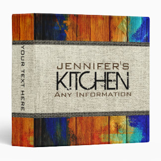 Vintage Wood Kitchen Fabric Look Binder