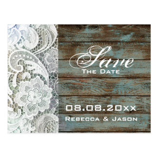 vintage wood lace country wedding save the date postcard
