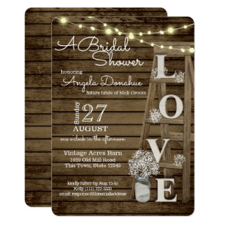 Vintage Wood Ladder Bridal Shower Card