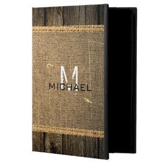 Vintage Wood Look Burlap Rustic Monogram Powis iPad Air 2 Case