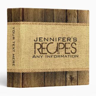 Vintage Wood Look Kitchen Cooking Rustic Burlap Vinyl Binder