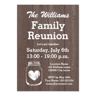 Vintage wood mason jar family reunion invitations