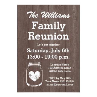 Vintage wood mason jar family reunion invitations