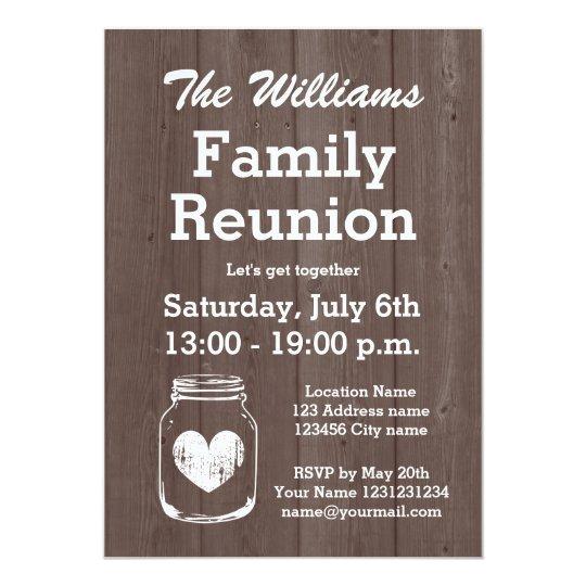 Vintage wood mason jar family reunion invitations Zazzlecom