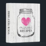 """Vintage wood mason jar mini recipe binder book<br><div class=""""desc"""">Personalized white oak wood grain vintage mason jar kitchen recipe binder book. Custom mini kitchen cookbook with pretty faded pink heart and personalizable name or quote. Cute personalized baking / cooking gift idea for women; ie mom, mother, aunt, wife, sister, grandma, bride, bridesmaids, girl, bride etc. Rustic country chic design...</div>"""