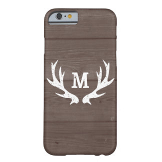 Vintage wood monogram deer antlers iPhone 6 case
