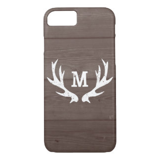 Vintage wood monogram deer antlers iPhone 7 case