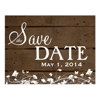 Vintage Wood Planks White Floral Save the Date Postcard