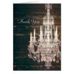 vintage wood purple chandelier wedding thankyou stationery note card