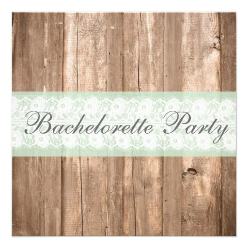 Vintage Wood Shabby Chic Bachelorette Party Invites