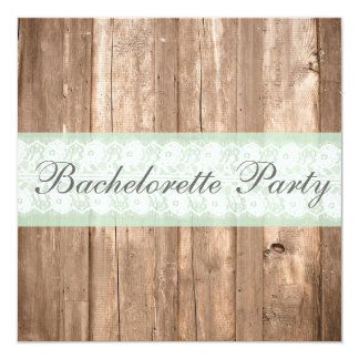 Vintage Wood Shabby Chic Bachelorette Party Invites
