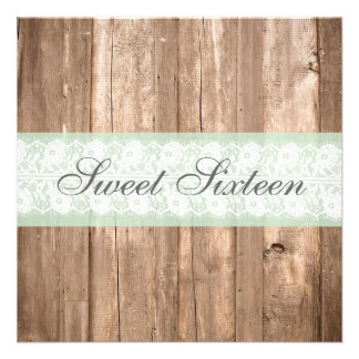 Vintage Wood Shabby Chic Sweet Sixteen Birthday Custom Announcements
