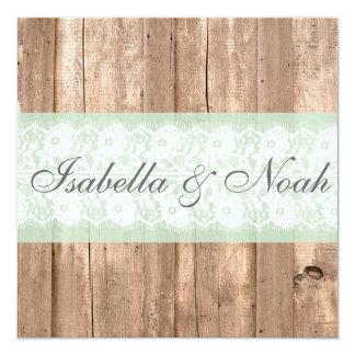 Vintage Wood Shabby Chic Wedding Invitation