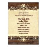 Vintage Wood Shabby Lace Parchment Wedding 5x7 Paper Invitation Card