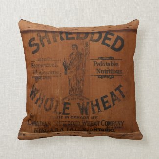 Vintage Wood Shipping Crate Industrial Chic Pillow