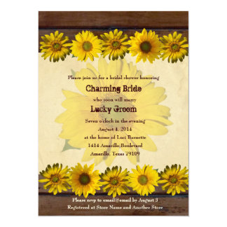 Vintage Wood Sunflowers Bridal Shower Invitation