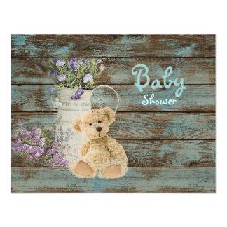 vintage wood teddy bear baby shower invitations