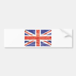 Vintage Wood Union Jack British(UK) Flag Bumper Sticker