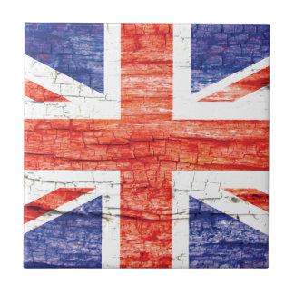 Vintage Wood Union Jack British(UK) Flag Ceramic Tile