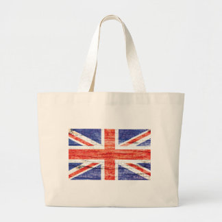 Vintage Wood Union Jack British(UK) Flag Large Tote Bag