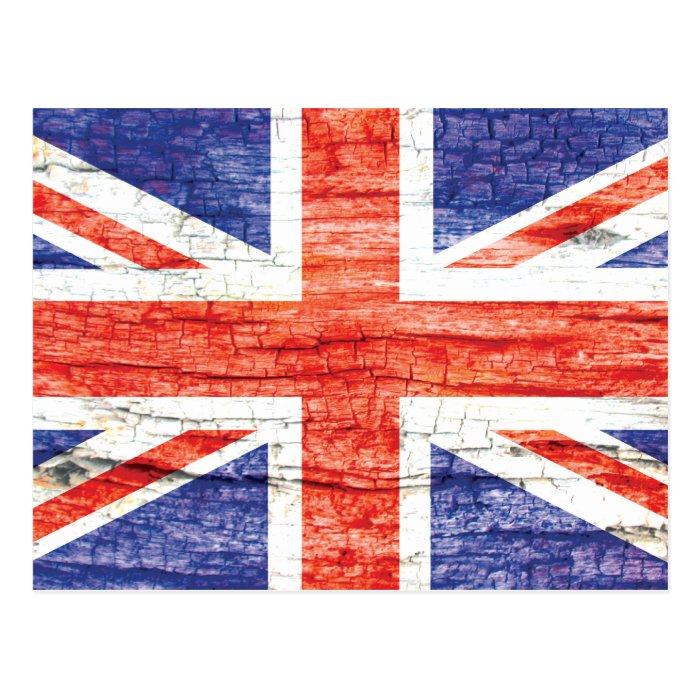 Vintage Wood Union Jack British(UK) Flag Postcard