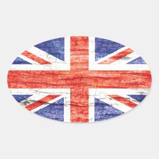 Vintage Wood Union Jack British UK Flag Oval Sticker
