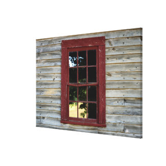 Vintage wood wall and window background canvas print